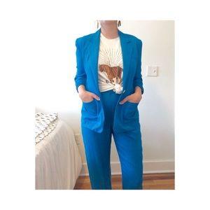 Vtg Blue Silk RALPH LAUREN Suit Jacket Pants Set S